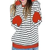 Women Tops, Gillberry Womens Cotton Long Sleeve Round Neck Splice Shirt Blouse Tops T Shirt (L, Orange)