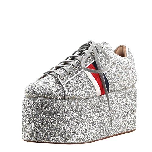 Cape Robbin Womens Tacco Punta Scintillio Piattaforma Piatta Alta Zeppa Lace Up Moda Sneakers Stivaletti Argento