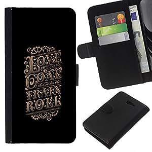 Supergiant (Love Gold Vintage Retro Poster Black) Dibujo PU billetera de cuero Funda Case Caso de la piel de la bolsa protectora Para Sony Xperia M2 / M2 dual