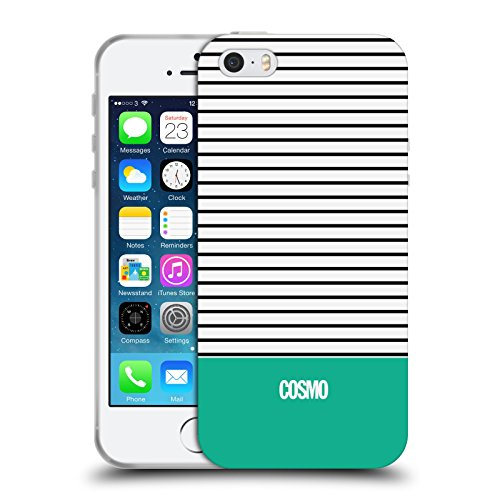 Official Cosmopolitan Teal 1 Stripes Collection Soft Gel Case for Apple iPhone 5 / 5s / SE