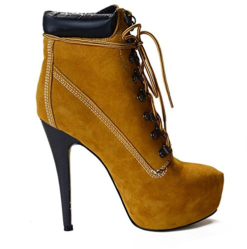 Linyi Banquet Brown Bottines Stiletto Chaussures Talon Femmes Haut Quotidien Sangle Occasionnel rP0Hwvxrq