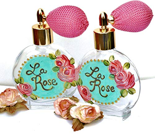 - Refillable Glass Perfume Bottle Atomizer with Hand Painted Pink Roses and Swarovski Crystal Rhinestones