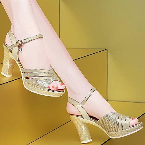 Épais Chaussures Femmes Chaussures Sandales EU36 SHOESHAOGE Poisson Permettant Fentes Heeled Des Avec Femme De Avec High Bouche qSpwtPS