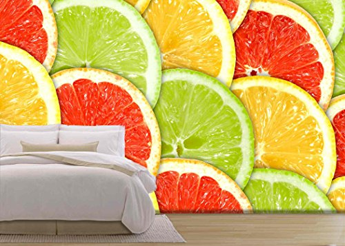 wall26 - Abstract Three-Color Background with Citrus-Fruit of Grapefruit, - Removable Wall Mural | Self-adhesive Large Wallpaper - 100x144 inches