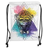 Custom Printed Drawstring Sack Backpacks Bags,Sketchy,Funny Monkey Animal with a Bowtie on Geometric Artistic Watercolor Style Backdrop Decorative,MulticolorSoft Satin,5 Liter Capacity,Adjustable Str
