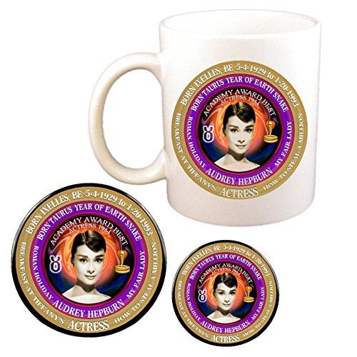 (Audrey Hepburn Actress Cup + Pin + Magnet, Astrology Taurus Zodiac Earth Snake)
