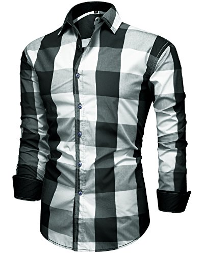 Trensom Men's Casual Cotton Collared Checked Long Sleeve Plaid Button Down Dress Shirt Black Medium