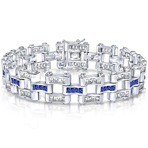Men's Sterling Silver .925 Original Design Bracelet with Fancy Azure Blue and Elegant White Baguette Cut Cubic Zirconia (CZ) Stones, Box Lock, Original Design, Platinum Plated 8