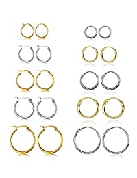 10 Pairs Small Hoop Earring Set for Women Men Girls Lightweight Click-Top Stainless Steel Cartilage Earring Endless Hypoallergenic 10-18MM