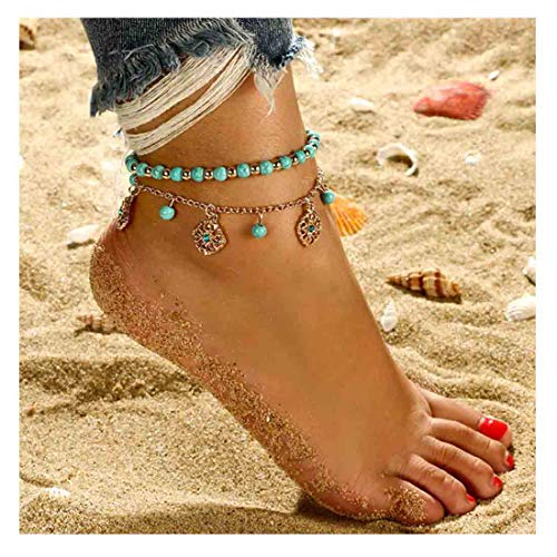 Yfe Bohemia Layered Turquoise Anklet Foot Jewelry Turquoise Flowers Anklets for Women and Girls Bracelet Foot Chain Beach Jewelry Charm Accessories ()