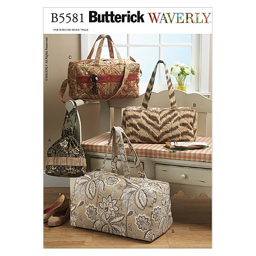 BUTTERICK PATTERNS B5581 Duffle and Drawstring Bags, One Size Only (Patterns Bag Quilted)