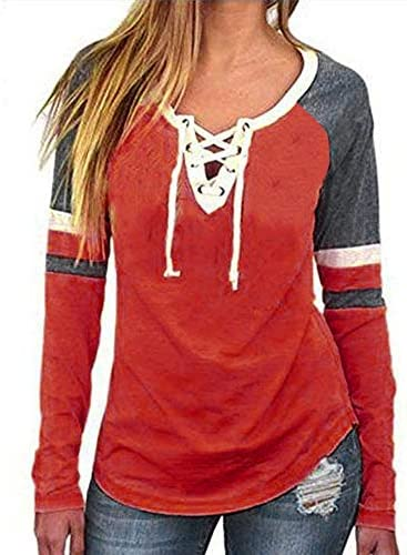 [해외]Women Tops Long Raglan Sleeve Shirt Casual Criss Cross Slim Fit Basic Splice Tunic Tops Blouse / Women Tops Long Raglan Sleeve Shirt Casual Criss Cross Slim Fit Basic Splice Tunic Tops Blouse (M, Orange)