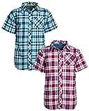 U.S. Polo Assn. Boys Short Sleeve Woven Shirt (2 Pack), Aqua Red/Plaid, Size 10/12'