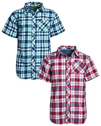 U.S. Polo Assn. Boys Short Sleeve Woven Shirt (2 Pack), Aqua Red/Plaid, Size 14/16' ()