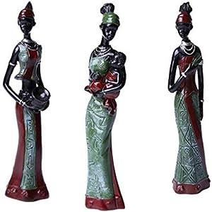 LANLONG 3pcs Works of art of ceramic Folk Art Love African Girls Home Decor Works of art of ceramic Figurine Folk Art Home Decoration Love Africa Figurine (Green)