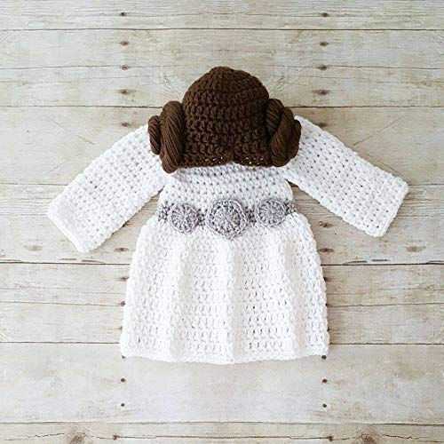 216cd478f Crochet Baby Princess Leia Dress Hat Wig Hair Star Wars Costume Infant  Newborn Baby Photography Photo Prop Baby Shower Gift Present