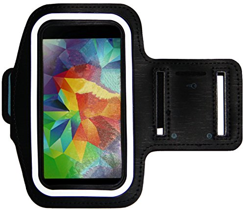 Running & Exercise Armband for Samsung Galaxy S6 S5 S4 iPhone 6 / 6S (4.7), HTC One & More with Key Holder & Reflective Band (Black)