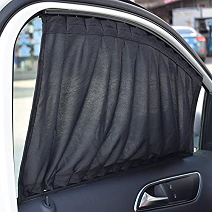 Feiteplus 2 x Car Side Window Curtain Sun Shade Vehicle Slidable Window Shield UV Protection Pack of 2, L