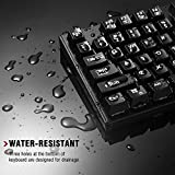 Turbot Wired Mechanical Gaming Keyboard, 87 Keys Water-resistant Ergonomic Gaming Keyboard with Anti-ghosting Keys, Blue Switches - Black