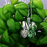 "Merdia Crystal Four Leaf Clover Pendant Necklace 16"" + 5"" Extender Green"