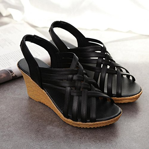 Bovake Summer Women Sandals, High Platforms Cut Outs Pattern Belt Gladiator Sandal - Bohemia Beach Sandals Wedges Shoes Footwear Flat Flip Flop Sandal | No Rubbing | Foot Toes Comfortable To Wear Black