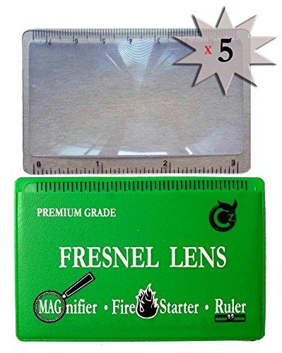 (Premium Grade Fresnel Lens Pocket Wallet Credit Card Size - Magnifier - Solar Fire Starter - Ruler - Unbreakable Plastic for Home Office Classroom & Outdoor EDC Survival Kit Bushcraft)