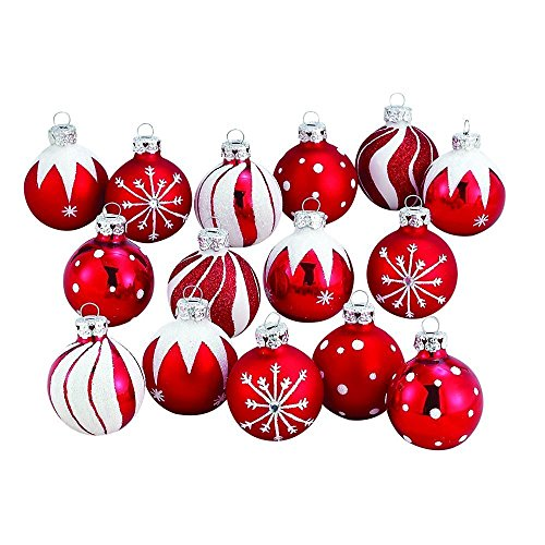 Kurt Adler Medallion Collection Red With White Glitter Decorated Glass Ball Ornaments, Set of (Decorated Glass Ball Ornaments)