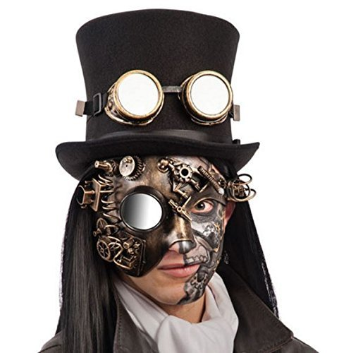 Carnival Toys 1693–Steampunk Hard Plastic Half Face Gold Mask with Mirror