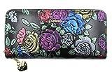 ArtsEye Rose Embossed Genuine Leather Long Zip Around Wallet (Black)