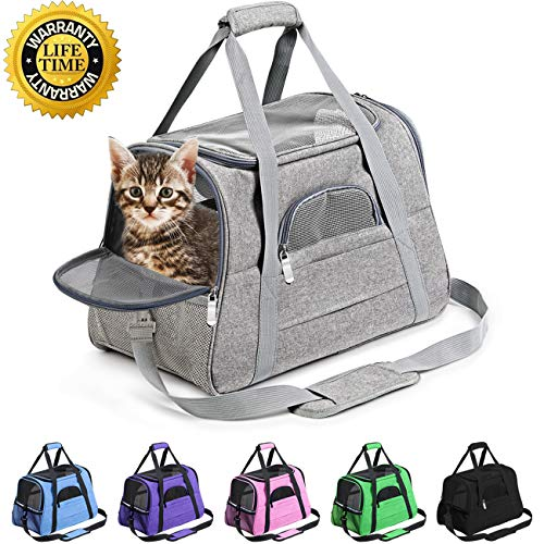 Prodigen Pet Carrier Airline Approved Pet Carrier Dog Carriers for Small Dogs, Cat Carriers for Medium Cats Small Cats, Small Pet Carrier Small Dog Carrier Airline Approved Cat Pet Travel Carrier-Gray