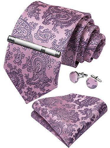 DiBanGu Mens Pink Paisley Tie and Pocket Square Set Silk Wedding Necktie Cufflinks Tie Clip Set Party