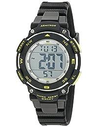 Armitron Sport Women's 45/7058LGN Lime Green Accented Digital Chronograph Black Resin Strap Watch