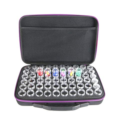 YOTHG High Capacity 60 Slots Diamond Embroidery Box Diamond Painting Accessory Case Clear Plastic Beads Storage Boxes Cross Stitch Tools Storage Case(Purple) ()