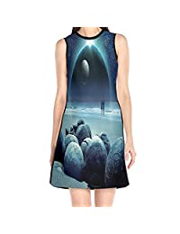 MONILO Starry Sky Women's Lady Sleeveless Mini Dress Print Party Dress Tank Dress