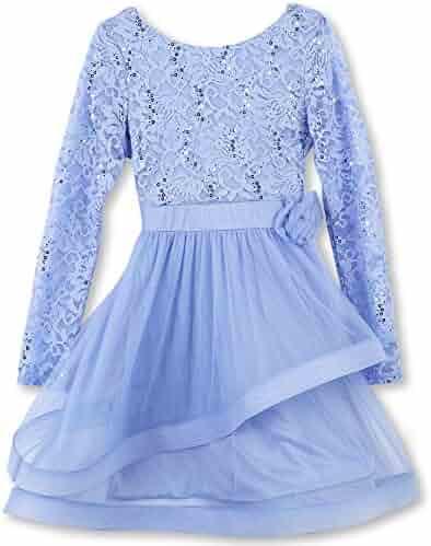 Speechless Big Girls' Long Sleeve Party Dress with Wide Ribbon Hem