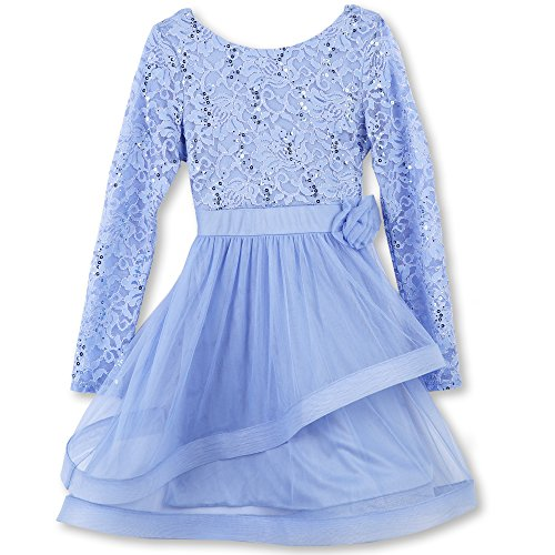 Speechless Big Girls' Long Sleeve Party Dress with Wide Ribbon Hem, Blue Sky, 12