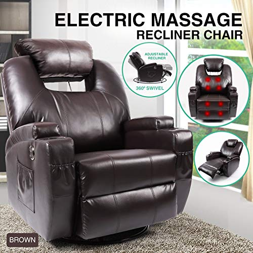 Artist Hand Massage Recliner Chair with Cup Holder, Electric Heated Black 360 Swivel Rocker Chair for Eldelry, Living Room Lounge Sofa, Headrest Adjustable -
