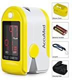 AccuMed® CMS-50DL Pulse Oximeter Finger Pulse Blood Oxygen SpO2 Monitor w/ Carrying case, Landyard Silicon Case & Battery (Yellow)