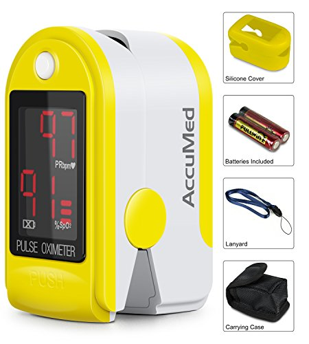 Spo2 Finger (AccuMed® CMS-50DL Pulse Oximeter Finger Pulse Blood Oxygen SpO2 Monitor w/ Carrying case, Landyard Silicon Case & Battery (Yellow))