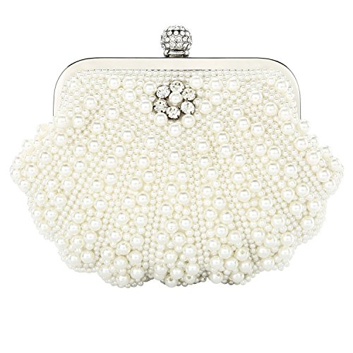 Handbag Bag Crystal Evening Wedding Bag Women's Shell Pearl Bags Bead White 5C0xIFq