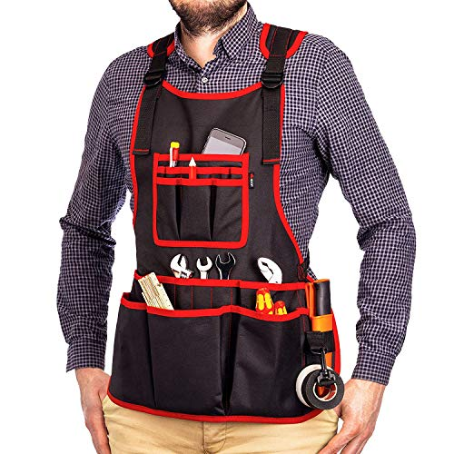 NoCry Heavy Duty Work Apron - 26 Tool Pockets, Tape Measure Holder, D Ring  Loop, Black Waterproof Canvas, Adjustable for Men and Women XXS to 4XL