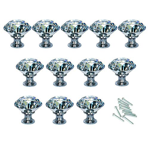 HOSL 12-Pack 40MM Diamond Shape Crystal Glass Cabinet Knob Cupboard Drawer Pull Handle/Great for Cupboard, Kitchen and Bathroom Cabinets, Shutters, etc
