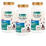 NaturVet Tear Stain Removal All Natural Supplement Dog Cat 60 Tasty Tab 3 Pack