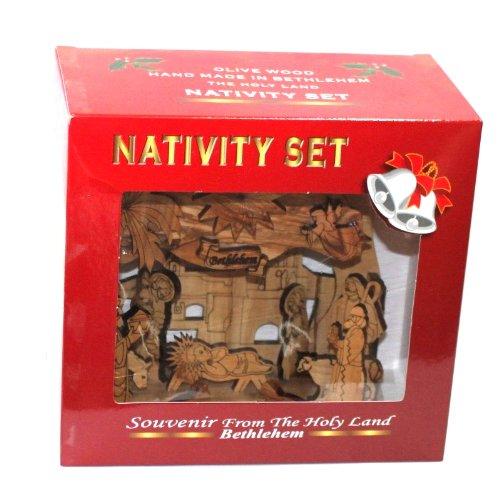 Holy Land Market Olive Wood Silent Night Nativity (Medium (6.5 Inches))