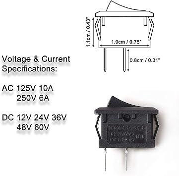 DC AC Basculante Interruptor 2 Pines SPST, Mini Encendido/Apagado Rocker Interruptor para AC 125V-250V DC 12V 24V 36V 48V 60V Coche Motocicleta Barco Interruptor Agua Dispensador Cafetera TV - 5 PCS: Amazon.es: