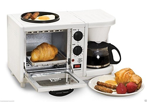 tifunction Breakfast Deluxe Toaster Oven Coffee Maker Griddle ()