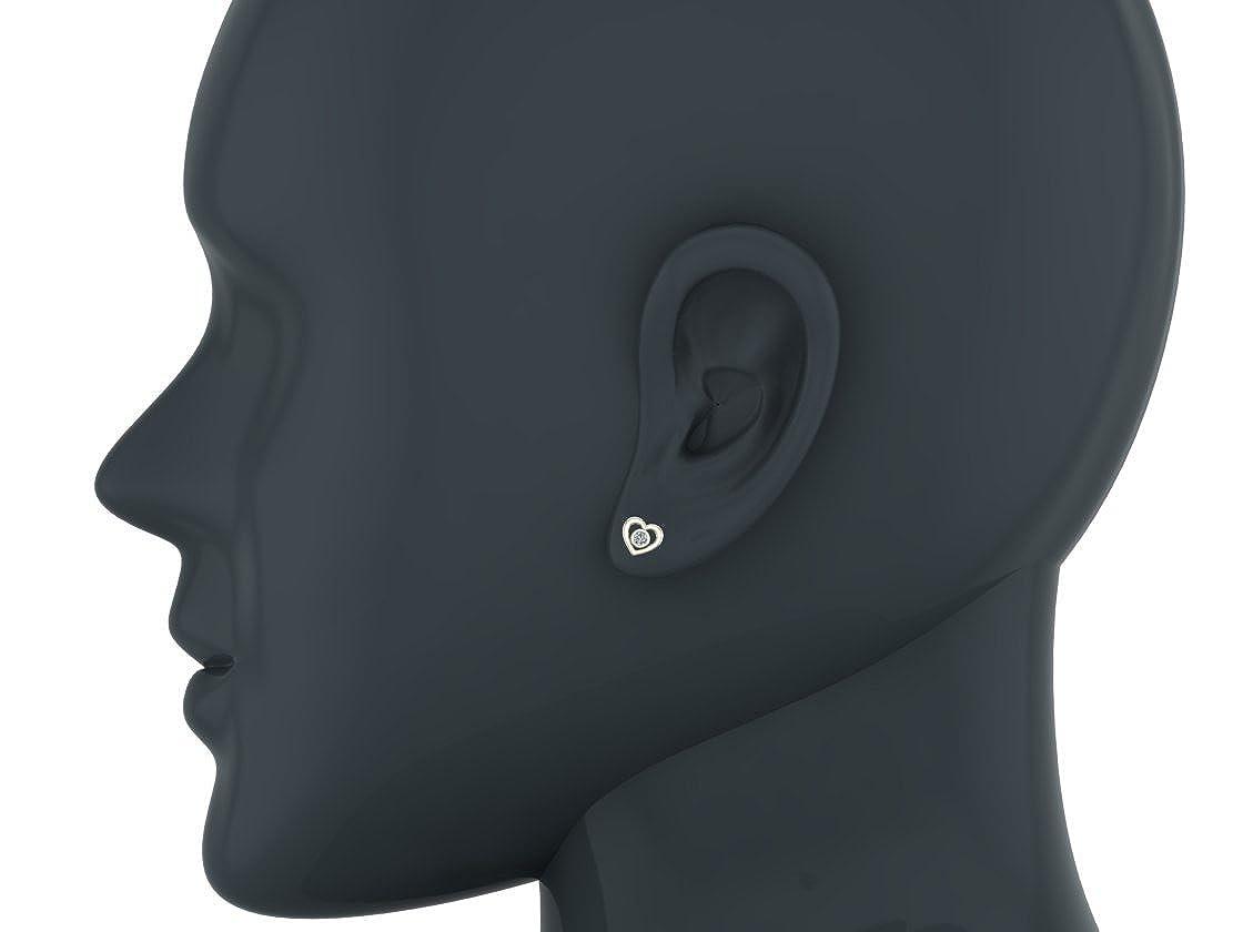 Diamond Earrings Heart Shape Studs Bezel Settings 10K Gold 0.10 ctw