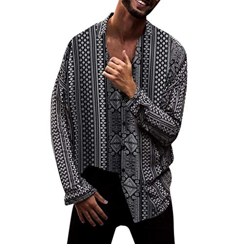 Stoota Men Fashion Print Long Sleeve Button-Down Shirts,Baggy
