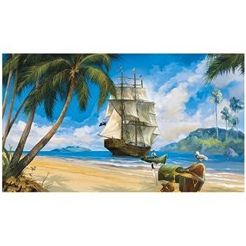 York Wallcoverings BT2828M Pirate Mural, Ocean Blue/Cork Screw  Tan/Rainforest Green/ Part 30