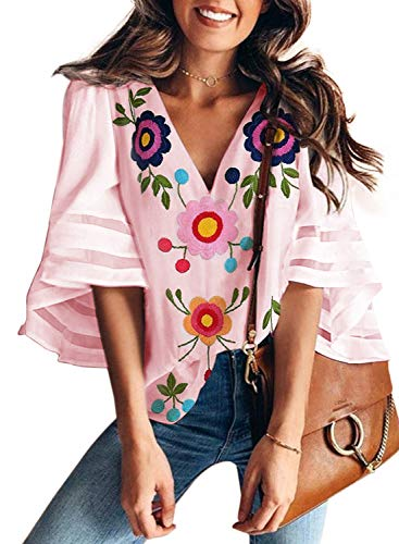 (AlvaQ Women Ladies Sexy V Neck Shirts 3/4 Bell Sleeve Loose Floral Print Top Shirt Pink Small)